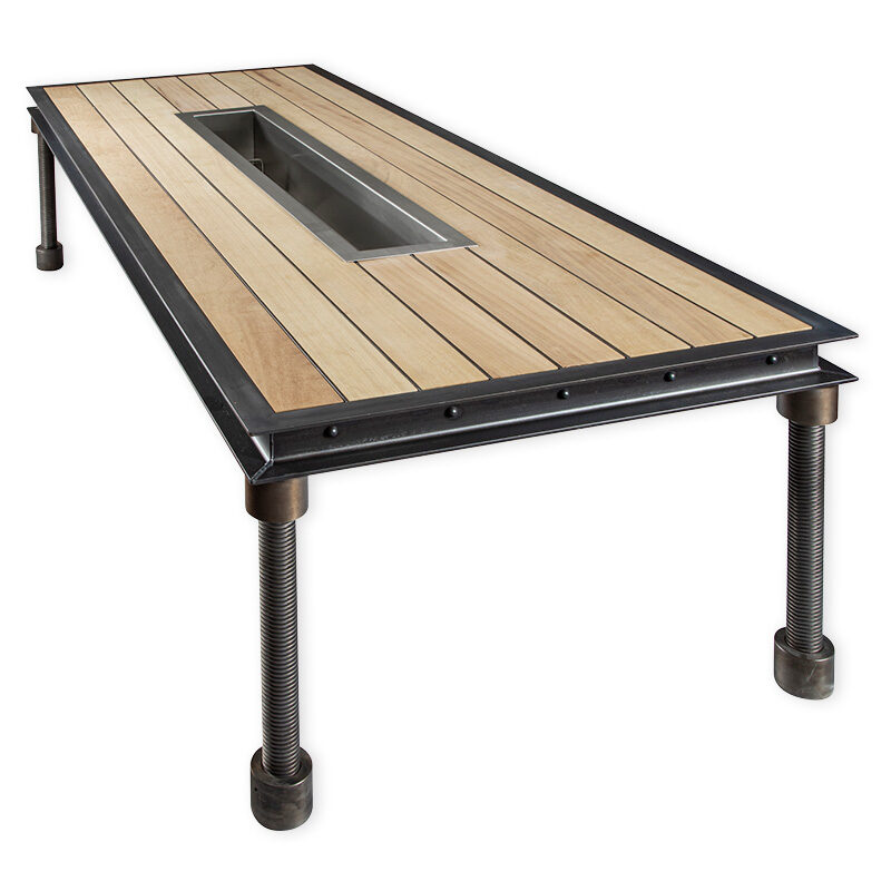 Steel and wooden outdoor dining table with removable trough